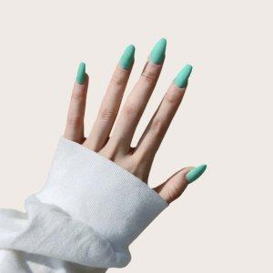 Накладные ногти 24шт SHEIN. Цвет: синий