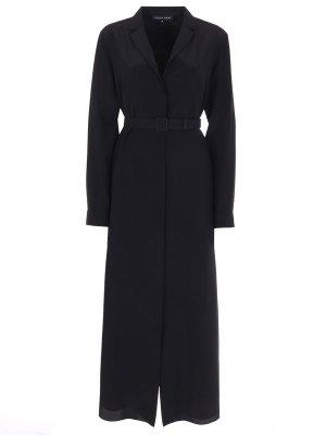 Шелковое платье-миди с поясом TEREKHOV. Цвет: черный