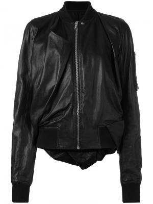 Кожаная куртка-бомбер Rick Owens. Цвет: чёрный