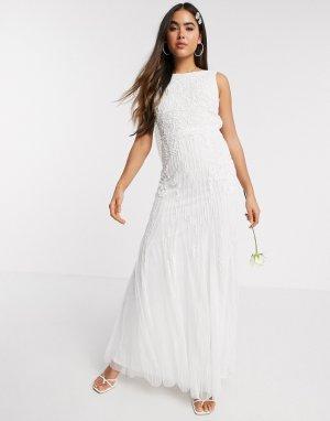 Свадебное платье макси цвета слоновой кости -Белый Amelia Rose