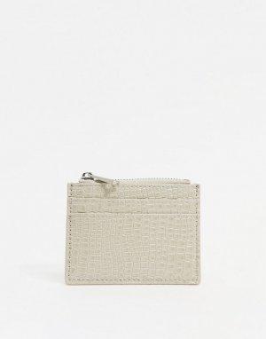 Светло-бежевый кошелек для мелочи и кредитница с отделкой под кожу крокодила ASOS DESIGN