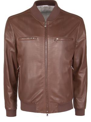 Кожаная куртка BILANCIONI. Цвет: коричневый