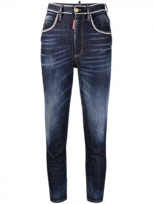 Укороченные джинсы скинни с бисером Dsquared2. Цвет: синий