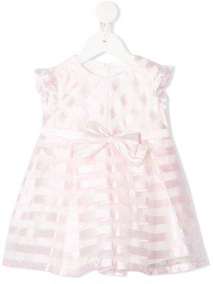 Платье в полоску с бантом Aletta. Цвет: розовый
