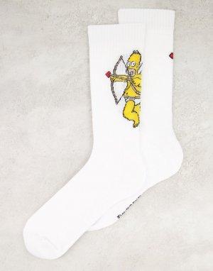 Спортивные носки с принтом Гомера в образе купидона День святого Валентина -Белый ASOS DESIGN