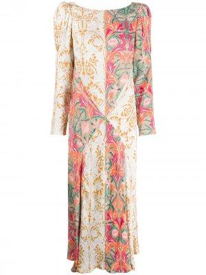 Платье миди May с цветочным принтом Liberty London. Цвет: зеленый