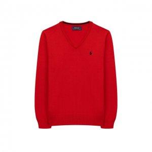 Хлопковый пуловер Polo Ralph Lauren. Цвет: красный