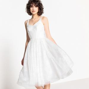 Платье свадебное расклешенное из кружева с бусинами LA REDOUTE COLLECTIONS. Цвет: слоновая кость