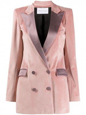 Двухцветное двубортное пальто Hebe Studio. Цвет: розовый