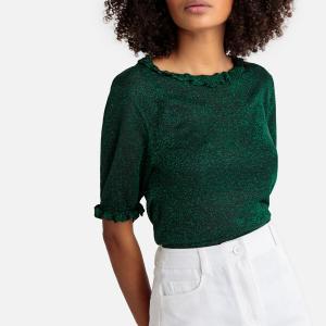 Пуловер с круглым вырезом из блестящего трикотажа SUNCOO. Цвет: зеленый