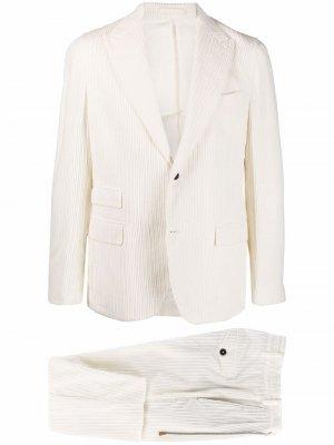 Вельветовый костюм с однобортным пиджаком Eleventy. Цвет: белый