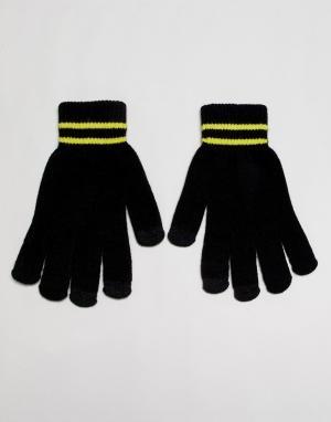Перчатки в полоску 7X. Цвет: черный