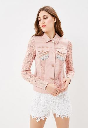 Куртка джинсовая Desigual. Цвет: розовый