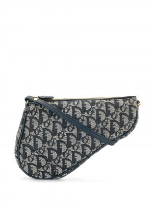 Клатч Saddle pre-owned с узором Trotter Christian Dior. Цвет: синий
