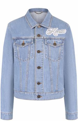 Джинсовая куртка с потертостями и логотипом бренда Kenzo. Цвет: голубой