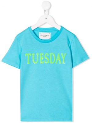 Футболка с надписью Tuesday Alberta Ferretti Kids. Цвет: синий