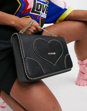 Черная сумка на плечо с вышивкой в форме сердца -Черный Love Moschino