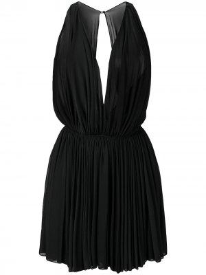 Прозрачное платье мини 1990-х годов с плиссировкой Alaïa Pre-Owned. Цвет: черный