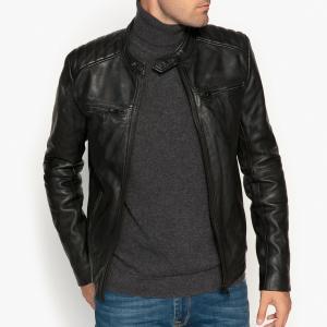 Блузон кожаный в байкерском стиле LA REDOUTE COLLECTIONS. Цвет: черный