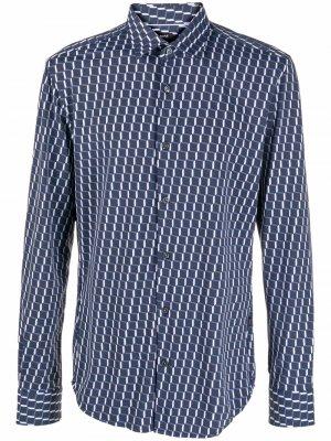 Рубашка с геометричным принтом Boss Hugo. Цвет: синий