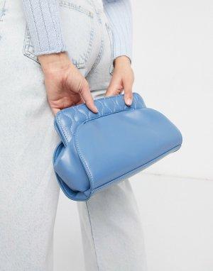 Синий дутый клатч со стегаными вставками -Многоцветный ASOS DESIGN