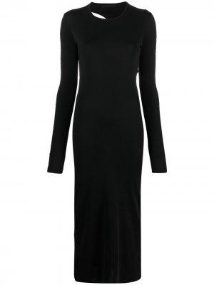 Платье макси с вырезами Helmut Lang. Цвет: черный