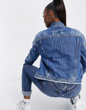 Классическая выбеленная джинсовая куртка в стиле oversized -Голубой Replay