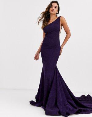Платье на одно плечо -Фиолетовый Jovani