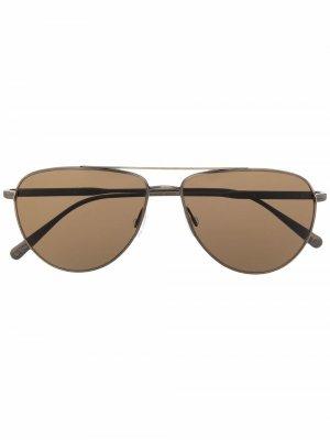 Солнцезащитные очки-авиаторы Disoriano Brunello Cucinelli. Цвет: коричневый