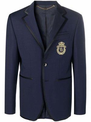 Однобортный пиджак с вышитым логотипом Billionaire. Цвет: синий
