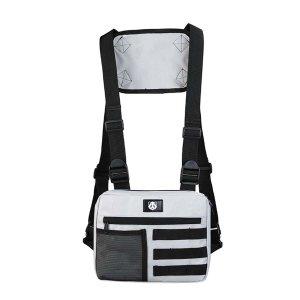 Мужская двухцветная поясная сумка SHEIN. Цвет: светло-серый
