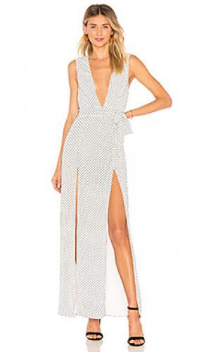 Макси платье с разрезами taura ale by alessandra. Цвет: белый