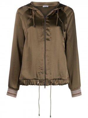 Куртка-бомбер с капюшоном Brunello Cucinelli. Цвет: зеленый