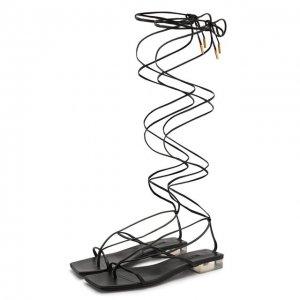 Кожаные сандалии Antheia Versace. Цвет: чёрный
