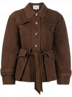 Джинсовая куртка с карманами Nanushka. Цвет: коричневый
