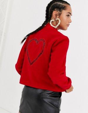 Бомбер на основе шерсти с блестящим сердцем -Красный Love Moschino
