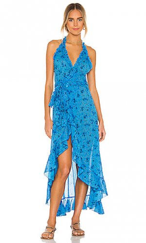 Макси платье tamara Poupette St Barth. Цвет: синий