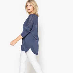 Пуловер с V-образным вырезом CASTALUNA. Цвет: синий индиго