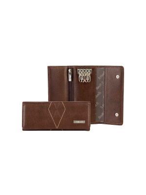 Ключница с карабинами, БОНД коричневый Domenico Morelli. Цвет: коричневый