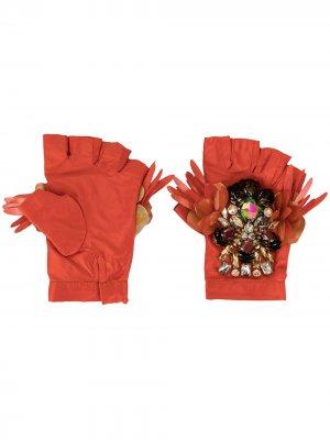 Декорированные перчатки-митенки Biyan. Цвет: оранжевый