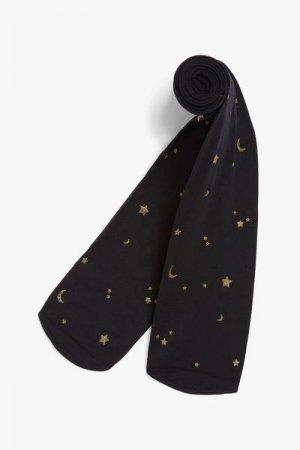 Черные колготки с принтом Monki. Цвет: черный, золотистый