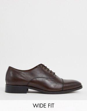 Коричневые кожаные туфли со шнуровкой wide fit-Коричневый Dune