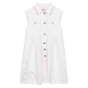 Хлопковое платье Dondup. Цвет: белый