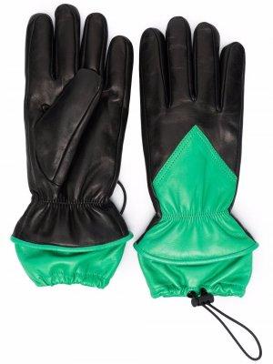 Перчатки с кулиской и вставками Bottega Veneta. Цвет: черный