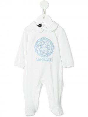 Logo print babygrow Versace Kids. Цвет: белый