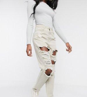 Светло-бежевые джинсы в винтажном стиле с рваной отделкой -Светло-бежевый Missguided Tall