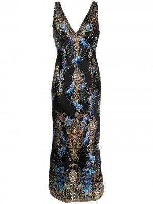 Платье-комбинация с принтом Baroque Camilla. Цвет: черный