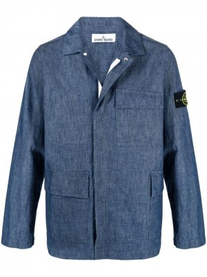 Джинсовая куртка-рубашка Stone Island. Цвет: синий