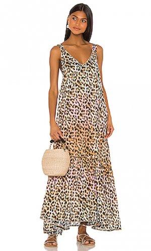 Макси платье tie dye juliet dunn. Цвет: brown,pink