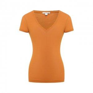 Хлопковая футболка James Perse. Цвет: коричневый